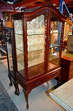 Vintage cedar display cabinet, pair of glazed