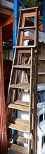 2 vintage timber wooden step ladders, 1 x 6 foot,