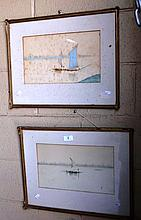 2 x watercolours Egyptian fishing boat scenes, 1