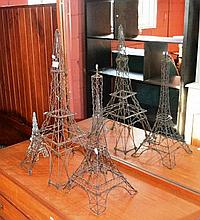Collection of 3x graduated wire-form Eiffel Towers