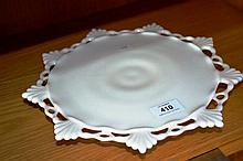 Milk glass cake stand with pierced border, 30cm
