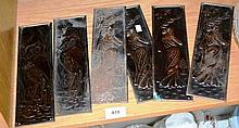 6 vintage pressed metal door finger plates, 3