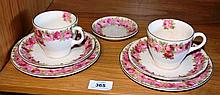 2 Royal Doulton trios 'Roses' pattern, with a