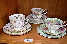 3 various china trios incl. Paragon, Aynsley &