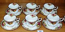 Set of 6 Royal Albert 'Old Country Roses' teacups