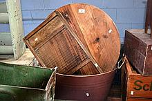 3 items: a metal washed tub, old wooden cheese-