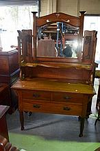 Good arts & crafts oak dressing table, mirrored