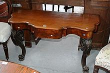 Victorian walnut hall table, nicely shaped top