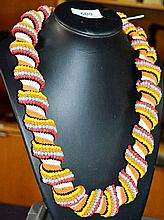Ornate colourful African beaded necklace