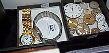 2 watches & a qty of watch spare parts