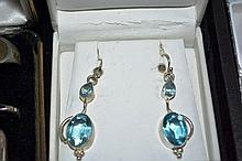 Pair of drop earrings, silver set with blue stones