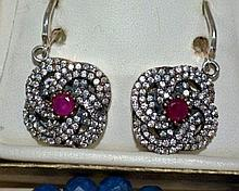 Silver, ruby & zircon set earrings
