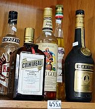 5 assorted bottles of alcohol to include vodka,