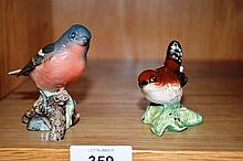 2 x Beswick 'The greens of birds', a wren - model