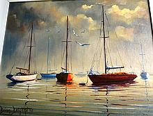 Brian Baigent, oil on board, moored fishing boats