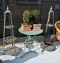 Pair of 3 tiered metal plant stands each with