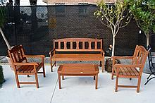 4 piece teak outdoor comprising bench seat, 2