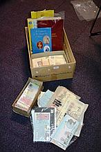 Box containing a lge collection of stamps &