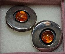 A pair of sterling silver amber set, clip-on