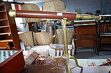 Decorative leather bound brass telescope, on