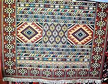 Vintage Egyptian machine woven rug in need of a