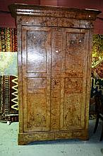 Antique Austrian Biedermeier masur birch armoire