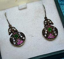Pair of ruby zircon & emerald earrings