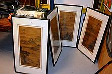 Series of 4 Chinese paintings on silk showing a