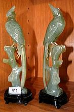 Good pair of Chinese green jade carved peacocks