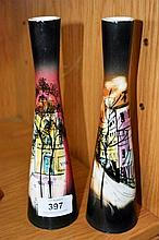 Pair of Studio Anna hand painted vases showing