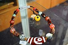 Tribal necklace with various stone and amber beads