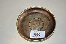 Chinese white metal dish, base inset with coin
