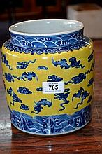 Chinese glazed pot with cloud detail in yellow,