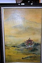 Oil painting on canvas of a Chinese pagoda in a