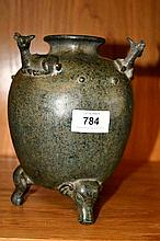 Cast metal Ming Dynasty style vase with 3 goats on
