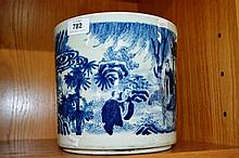 Large Chinese blue and white brush pot with scenes