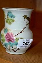 Small Chinese squat porcelain vase with floral