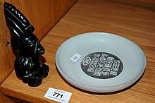 2 items: shallow dish with engraved calligraphy