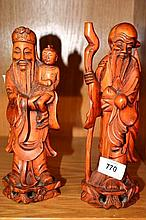 Pair of carved Chinese boxwood figures of wisemen