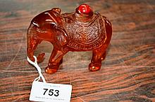 Resin snuff bottle carving of a standing elephant,