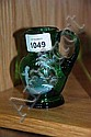 Antique Mary Gregory green glass jug with hand