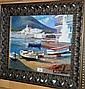 Well framed oleograph of moored fishing boats in a