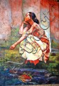 Oil portrait on canvas of a seated native woman,