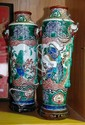 2 x large oriental hand painted ceramic vases with