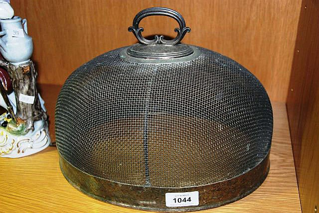 Vintage silver plate and mesh food cover with