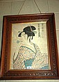 Antique Japanese woodblock print of a Geisha in