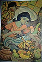 South-East Asian, oil on board, fruit sellers at a
