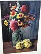Bauer Karoly watercolour, still life, flowers