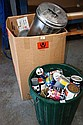 Box and 2 bins containing paints and solvents