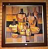 Paco Gorospe, oil on board, cubist still life of